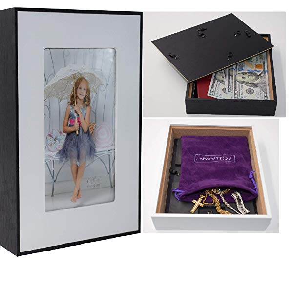 Picture frame diversion safe with locked compartment